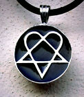 Black Fashion Heartagram Heart HIM Pentagram Star Pewter Pendant Charm Amulet