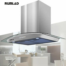 "30"" Stainless Steel Wall Mount Range Hood Stove Vent Fan w/ LED Control Kitchen"