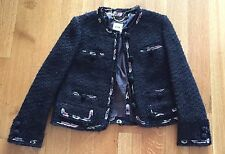 Moschino Made In Italy Black Tweed W/ Chiffon Appliqué Jacket SZ US 8