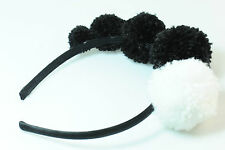 LADIES BLACK CHUNKY FLUFFY BALL HEAD BAND BRAND NEW UNIQUE HALLOWEEN (CL10)