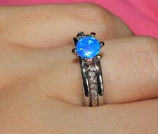 fire opal Cz ring Sz 5.75 6 gems silver jewelry chic engagement wedding band