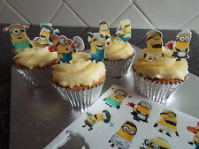 16  Stand Up Minion Edible Wafer Cupcake Pre-Cut Toppers Free Shipping
