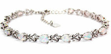 Silver Fire Opal Pear Cut 7.63ct Tennis Bracelet (925)