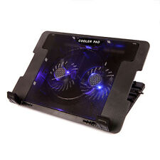 ADJUSTABLE BLUE LED LAPTOP NOTEBOOK COOLING COOLER STAND to FIT 13 15 17 INCH