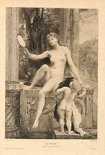 """"""" LA VERITE """" GRAVURE AU BURIN DE DEZARROIS TABLEAU DE PAUL BAUDRY 1900"""