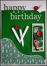 A5 Hand made Birthday card / Cricket theme /  Can be personalised