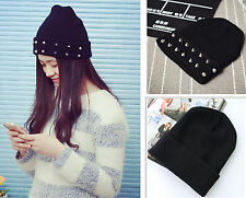 baggy slouch hat hip-hop cap unisex knitted Beanie ski spike studs Rivet winter