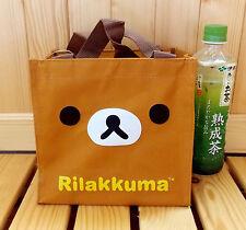 """San-X Rilakkuma Nylon Square Handbag Lunch Bag 8""""X7.5"""" for Kids -Brown Color"""