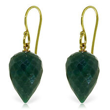 25.8 Carat 14K Solid Gold Fish Hook Earrings Natural Emerald