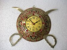 Metal dhaal talwaar indian clock handcrafted brass wall hanging decorative item