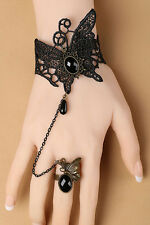 Black Gothic Lace Bracelet with Ring-384x