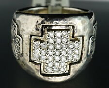 $2250 Scott Kay Silver Diamond Celtic Cross Hammered Cocktail Ring New HD VIDEO