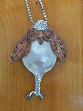 Handmade Silver-plated/Copper Spoon Owl Pendant/Necklace w/Chain-One of a Kind!