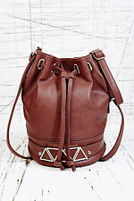 Urban Outfitters Brown Faux Leather Gold Triangle Drawstring Shoulder Bag BNWT