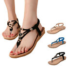 New Women's Beach Flat Sandals Slingback Ankle Strap Bead Flip Flops Thong Shoes