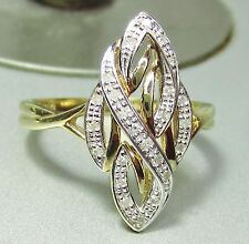 Stunning Art Deco Style 9ct Gold and Diamond Ring 3 grams Size P