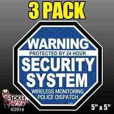 "3 Pack Warning 24 hour Security System Stickers  ""OCT"" BLUE Alarm Decal FS063"