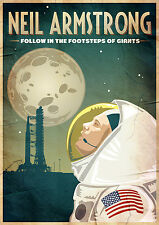 ''Neil Armstrong Tribute'' Vintage Style Print - Apollo 11 / NASA