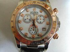"Alpha ""Racer Pearl"" 43mm ""Swiss Mov't"" 18K IP Rose Gold Bezel Chronograph Watch"