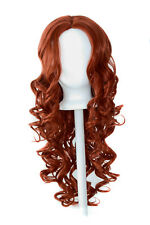 28'' Center Part Wig w/ Long Layered Curls No Bangs Maple Brown Cosplay Wig NEW