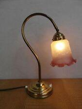 Tischlampe Leuchte Lampe Antik Messing Berlin Glasschirm geprägt  Stoffkabel