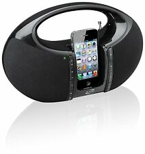 iLive IBP182B Portable Boombox FM Radio with Dock for iPhone/iPod - Black