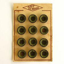 Carte de 12 gros boutons anciens Marron et intérieur tissu vert  - 25mm