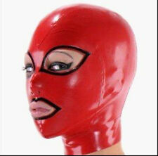 Latex Rubber Mask Red and Black Hood Masque Maske Size Head circumference 59cm