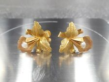 18K Gold Antique Lily Earrings with Pearls, Lovely! Screw Backs