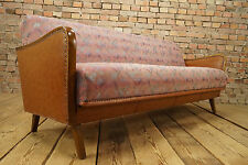 60s VINTAGE SOFA DAYBED DANISH SOFABED BED COUCH SETTEE RETRO wooden armrests