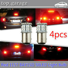 4x 1157 BAY15D 50 SMD 1206 LED Red Light Car Auto Tail Stop Brake Lamp Bulbs 12V