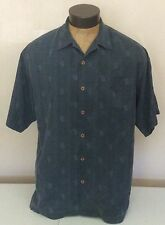 Tommy Bahama Mens L 100% Silk Dark Gray Relax Its Only Money $ Print Camp Shirt