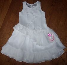 NWT Pampolina $78 White Chiffon RUFFLED Flowers 4/4T Girls Party/Wedding Dress