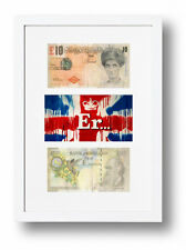 FRAMED & MOUNTED BANKSY DIFACED TENNERS 2 £10 NOTES & ER. UNION JACK PRINT