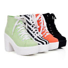 Womens Canvas Lace Up Block Chunky Heel Platform New Punk Ankle Boots Shoes Plus