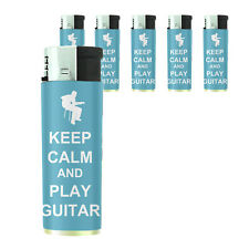 Butane Refillable Gas Lighter Set of 5 Keep Calm and Play Guitar Design-011