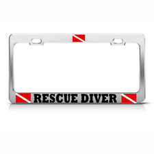 RESCUE DIVER License Plate Frame Heavy Metal LOVE SCUBA DIVING Tag Border