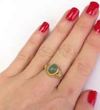 Beautiful Gilt Sterling Silver Chinese Export Amazonite Ring Size Adjustable