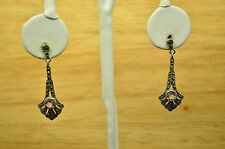 925 STERLING SILVER MARCASITE AND AMETHYS BUTTERFLY POST EARRINGS #X18964