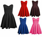 Womens Ladies Padded Boobtube Pleated Bodycon Stretch Skater Skirt Dress UK 8-14
