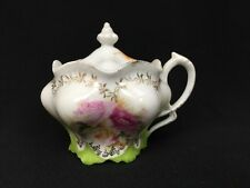 Antique RS Prussia Porcelain Mustard Condiment Jar Blown Out Roses Authentic