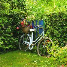 quadratische Postkarte: Fahrrad mit Blumenkorb am Gartenzaun - bicycle in garden