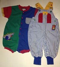 VINTAGE GYMBOREE Baby Boy Overalls SMALL 24 months 2T Toddler Green Blue