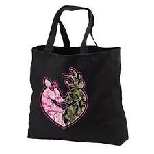 Buck Doe Camo Deer Couple NEW Black Tote Bag Books Gifts Events