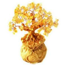 Feng Shui Citrine/ Yellow Crystal Gem Money Tree in Money Bag Pot for wealth XT