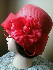 August Womens Red Cloche Flapper Style Hat One Size