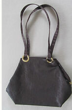 ~ WOW hübsche TASCHE Handtasche braun mit Riemen, Stoff glänzend ähnlich Satin