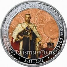 Australia 2011 Bronze Coinage Centenary George V $1 Pure Silver Color Proof