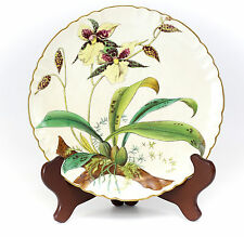 "Minton Porcelain Plate 8.25"" #G3108, 1885 Orchids Hand Painted by William Musill"