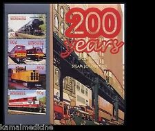 Micronesia MNH 4v SS, 200 yrs of Steam Locomotives, Train, Railways, CFL N - T04